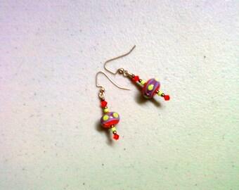 Lime Green, Orange and Lavender Lampwork Earrings (0287)