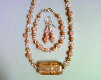 Pink Necklace, Bracelet and Earrings (0026)