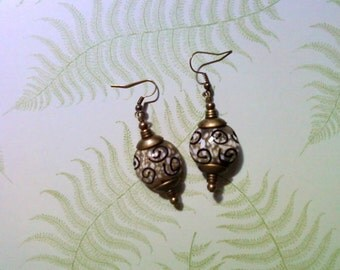 Olive Green, Black, White and Brass Earrings (1608)