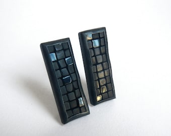 Mosaic Earrings - Onyx and Silver