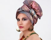 Golden Sun Turban Dreads Wrap, Head Wrap, Alopecia Scarf, Chemo Hat, Boho Gypsy Tribal, One Piece Wrap, Cotton Turban