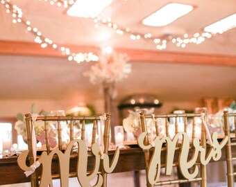 Gold Wedding Chair Signs Mr & Mrs Signs for Bride and Groom Hanging Sweetheart Table Decor Wedding Reception Decoration  (Item - MCK200)