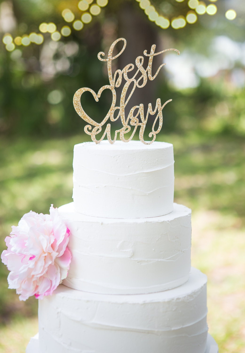 Wedding Cake Topper Best Day Ever Floating Topper by