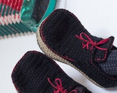House Shoes Slippers with Leather Sole in black with red trim - all adult shoe sizes US 4-12 EUR 35-46