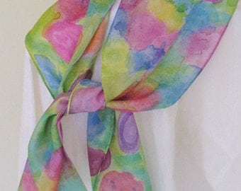 Hand painted silk scarf pink orange blue purple greens floral design 8x54 Canadian made scarf