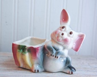 Vintage Bunny Rabbit Planter, Thumper Rabbit, Kitsch Nursery Decor, Vintage Nursery, Nursery Decor, Bunny Nursery Pink Gray