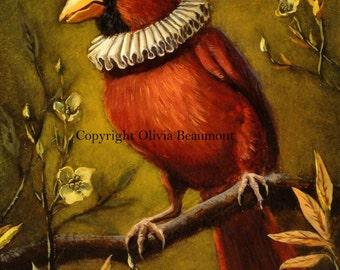 """Cardinal bird art - """"Noble Bunting"""" - print 5x7"""
