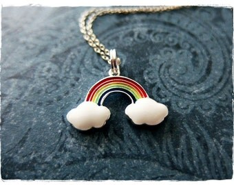 Rainbow Necklace - Rainbow Enameled Sterling Silver Rainbow Charm on a Delicate Sterling Silver Cable Chain or Charm Only