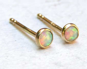 Opal stud Earrings, fine gold Stud earrings ,14k solid Gold Earrings,handmade earrings 3mm, Birthday gift, gift for her, women's gift
