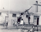 Caught in MIDAIR Boy Jumping Off DIVING BOARD Photo 1955