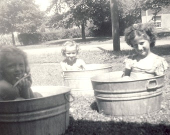 Everybody Grab a Pail It's TIME FOR a BATH Photo Circa 1940