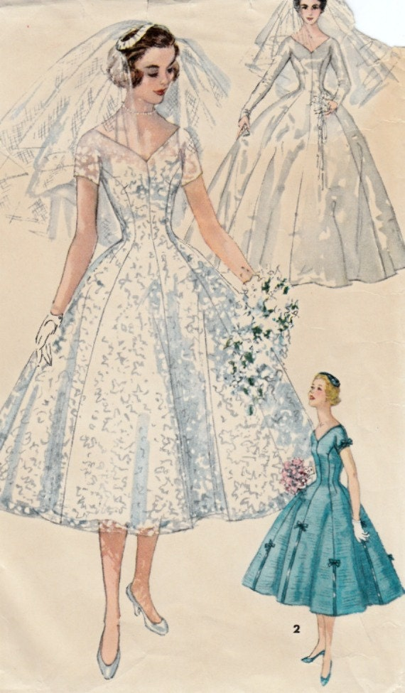 1950s Wedding Gown Pattern Simplicity 1461 Bridal Gown