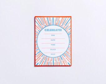 "Party   ""Celebrate!"" Fill-In Letterpress Invitations - Set of 6"
