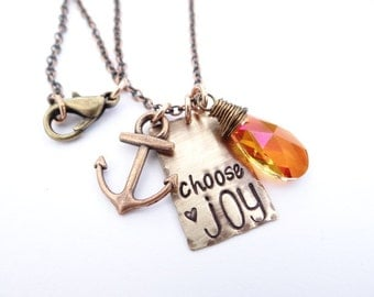Choose Joy Hand Stamped Necklace with Anchor. Swarovski Crystal Orange Pink Antique Gold Charm Necklace.  Inspirational Jewelry. Motivation.