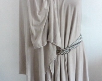Light taupe bamboo fabric one sided drape shoulder top