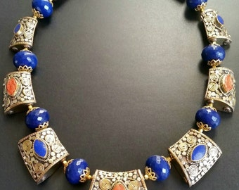 The Royal Reign Lapis & Coral Necklace