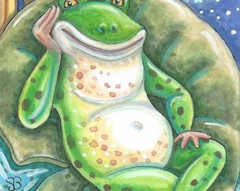 Bachelor Bullfrog Frog Pond Original Art ACEO Susan Brack Ebsq