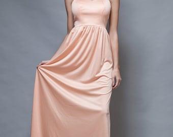 vintage 70s maxi dress spaghetti straps peach orange shimmery slinky soft S
