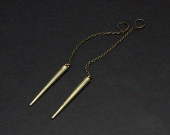 Metal Spike Drop Earring Antique Brass