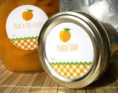 Gingham Peach Canning jar labels, round orange stickers for mason jars, fruit preservation, jam and jelly jars, preserves, cottage chic