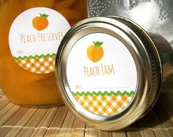 Gingham Peach canning jar labels, round orange mason jar labels, fruit preservation, peach jam label, jelly jar preserves, cottage chic