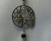 """ON SALE! Charm Necklace with Cute Little Owls Perched in """"Tree of Life"""" Pendant. Black Glass Bead, Crystal Glass Beads."""