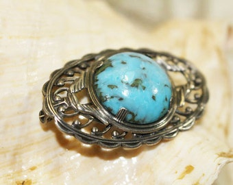 Vintage Brooch with Turquoise colored stone and Silver Scroll work, VIntage Pin    - D