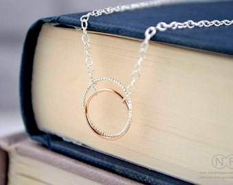 9ct Rose Gold and Sterling Silver Halo Necklace by Nicole Ferguson Jewellery