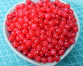 100x 6mm Tiny Raspberry Cat Eye Resin Globe beads
