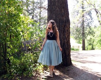 circle skirt swing skirt linen sea foam green full Handmade in California M
