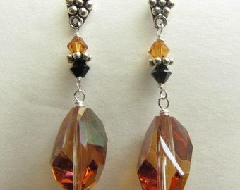 Swarovsky Crystal Earrings, Sterling Silver Earrings,Wire Wrapped Earrings, Handmade Earrings, Bronze and Black Swarovsky Crystals