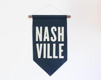 Felt Nashville City Pennant Banner