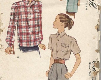 1940s Ladies Blouse Shirt Long or Short Sleeves Button Cuff Convertible Collar McCall 6709 Bust 32 Women's Vintage Sewing Pattern