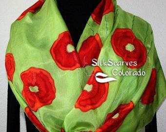 Green Silk Scarf. Poppies Hand Painted Silk Shawl. Handmade Silk Scarf DANCING POPPIES, in 3 SIZES. Silk Scarves Colorado. Birthday Gift
