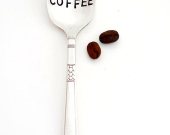 Will Work for Coffee™ Teaspoon. The ORIGINAL Hand Stamped Coffee & Espresso Spoons™ by Sycamore Hill. Gift Idea for Coffee Lover