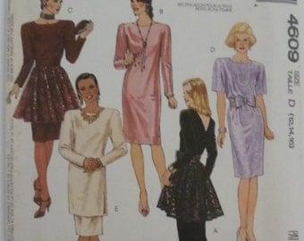 UNCUT Vintage Easy McCall's #4609 Size D (12.14.16) Misses' Dress, Tunic, Skirt, Detachable Peplum & Cummerbund