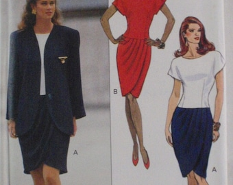 Ronnie Heller Lined Jacket and Dropped Waist Dress Sewing Pattern - Butterick 5263 - Sizes 18-20-22, Bust 40-42-44, Uncut