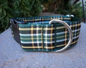 "Sale Large Dog Collar Irish National Tartan 1.5"" wide Side Release buckle - upgrade to martingale - see 3/4"" collar link within"