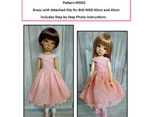 Pattern MSD2 Dress With Attached Slip for BJD MSD Fit to Kaye Wiggs MSD 45cm and 43cm