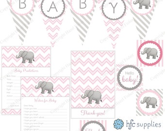 Elephant Baby Shower Set - Pink, printable party package; bunting, cupcake topper, baby wishes, predictions, thank you - Instant Download
