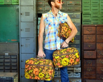 Vintage Psychedelic Floral Luggage Collection: Three 3 Earthtone Softside Matching Suitcases - Sm/M Travel Set in AS NEW Condition with KEYS