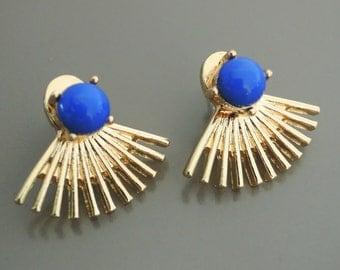 Ear Jackets - Lapis Blue Earrings - Gold Ear Jackets Earrings - Spiked Stud Earrings - Statement Earrings - Boho Earrings