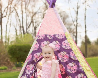 READY TO SHIP! - Child Toddler Kid's Play Teepee/Tent Hideaway in Art Gallery In Purple Pink Lime Green Poetica