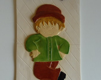 Vintage Hand Painted Bisque Porcelain Wall Plaque - Made in Quebec, Canada
