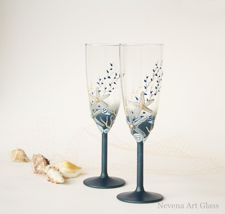 Beach Champagne: Beach Wedding Glasses Champagne Glasses Toasting By