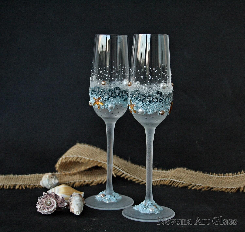 Beach wedding glasses champagne flutes starfish glasses for Wedding champagne flutes