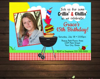 Summer BBQ Cookout Invitations, Printable File