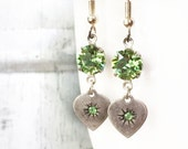 Peridot Green Swarovski Heart Earrings, Antiqued Silver, Dangle, August Birthstone
