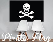 Pirate Flag Skull and Crossbones Wall Decal Printed Fabric Peel and Stick Wall Cling Wall Art WAL-2246