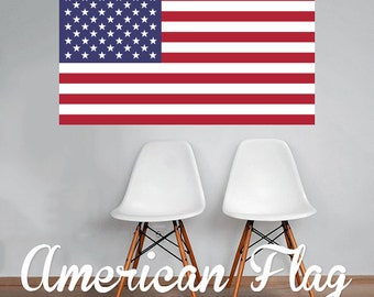 American Flag Wall Decal Printed Fabric Peel and Stick Wall Cling - USA Flag - United States of America Flag WAL-2239